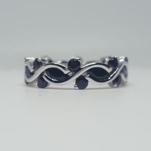 Jewelry - Sterling Silver Eternity Marquise Black CZ Ring